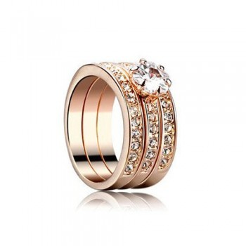 Glittering Triple Set Ring