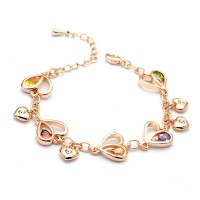Hearts and Stars Crystal Charm Bracelet