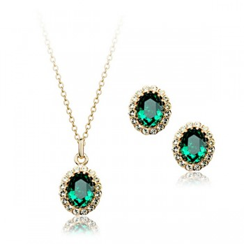 Emerald Splendour Pendant and Earring Set - Deep Green